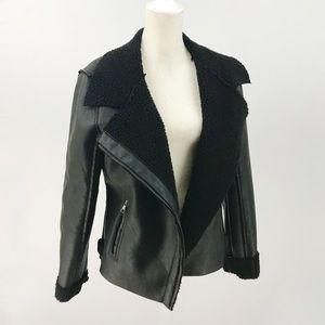 Madden Girl Faux Leather Sherling Moto Jacket